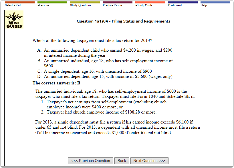 WiseGuides EA Exam eLesson question and answer explanation