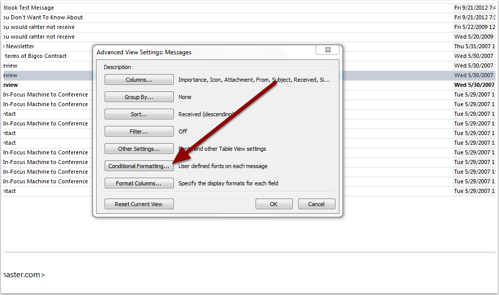 View Settings Dialog Box