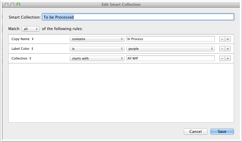 To be Processed Smart Collection Setup
