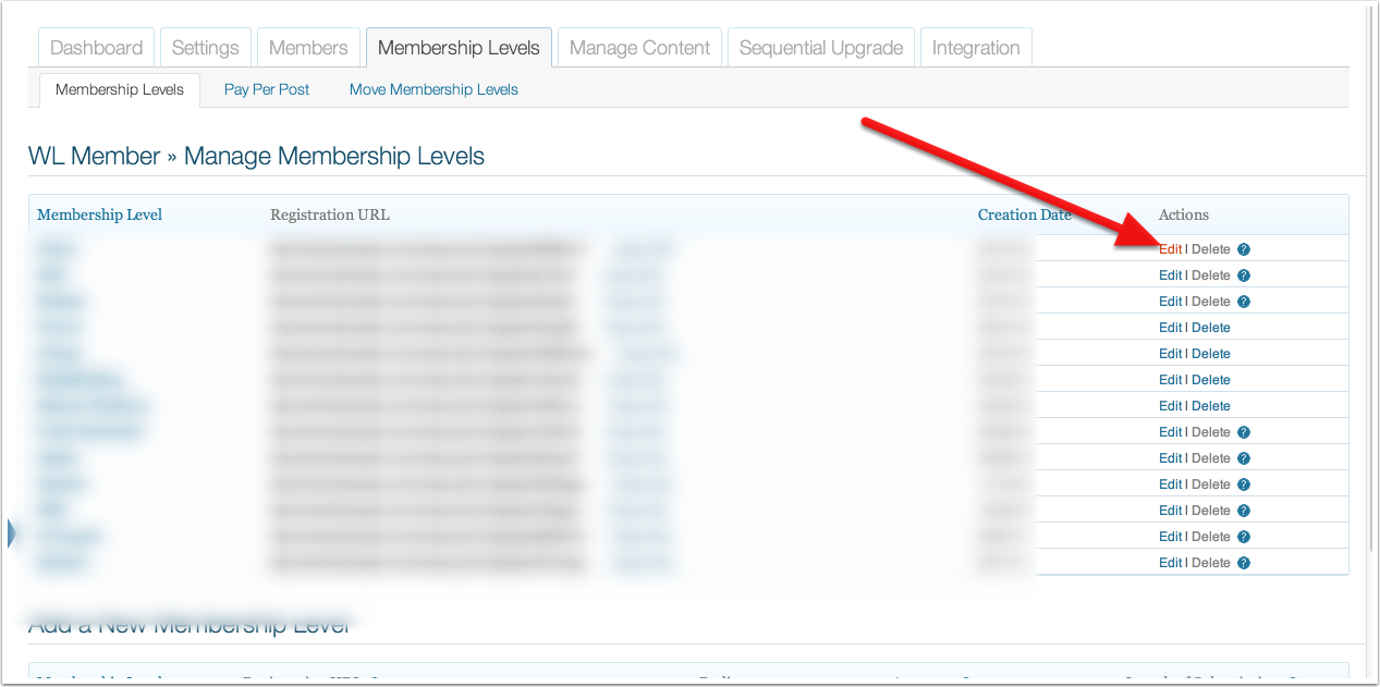 Select Edit for the membership level you want to modify