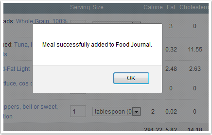 Food Item Added to Journal