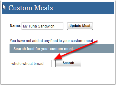 Searching food items to add
