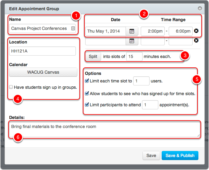 Edit Your Appointment Group